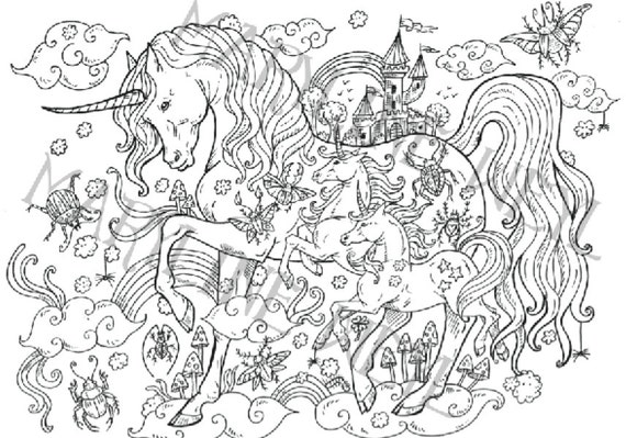 Coloring Book Magical Creatures Coloring Etsy