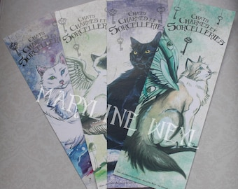 """4 marque-pages """"chats, charmes et sorcelleries"""" chat"""