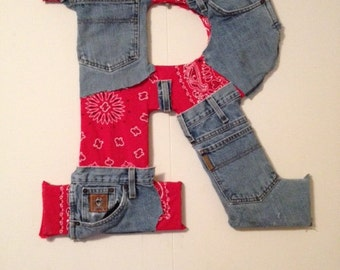 Denim and Pattern Wall Letters