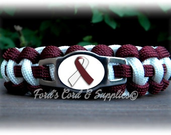 Head & Neck Cancer, Throat, Laryngeal, Pharyngeal, and Oral Cancer Awareness Bracelet, Paracord Bracelet for an 8 inch Wrist Measurement