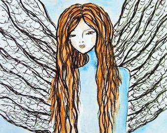 Ink Angel Painting Art Print, Birthday Gift, Gift Idea, Gift for her, Gift for Mom, Romantic Gift, Nursery Decor, Blue
