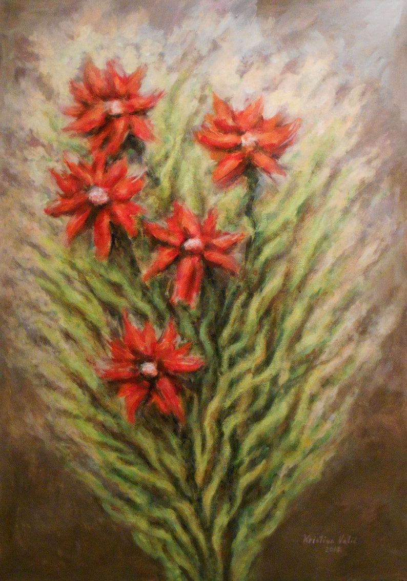 Birthday Gift Wall Decor Gift for her Flower Acrylic Painting Gift Idea Flower Painting Art Print