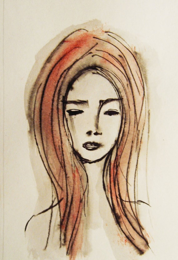 Face Painting Original Ink Drawing Girls Face Womans Face Etsy
