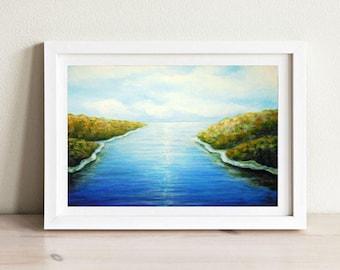 Landscape Seascape Painting Art Print  Acrylic on Canvas, Landscape Print Wall Decor, Modern Landscape