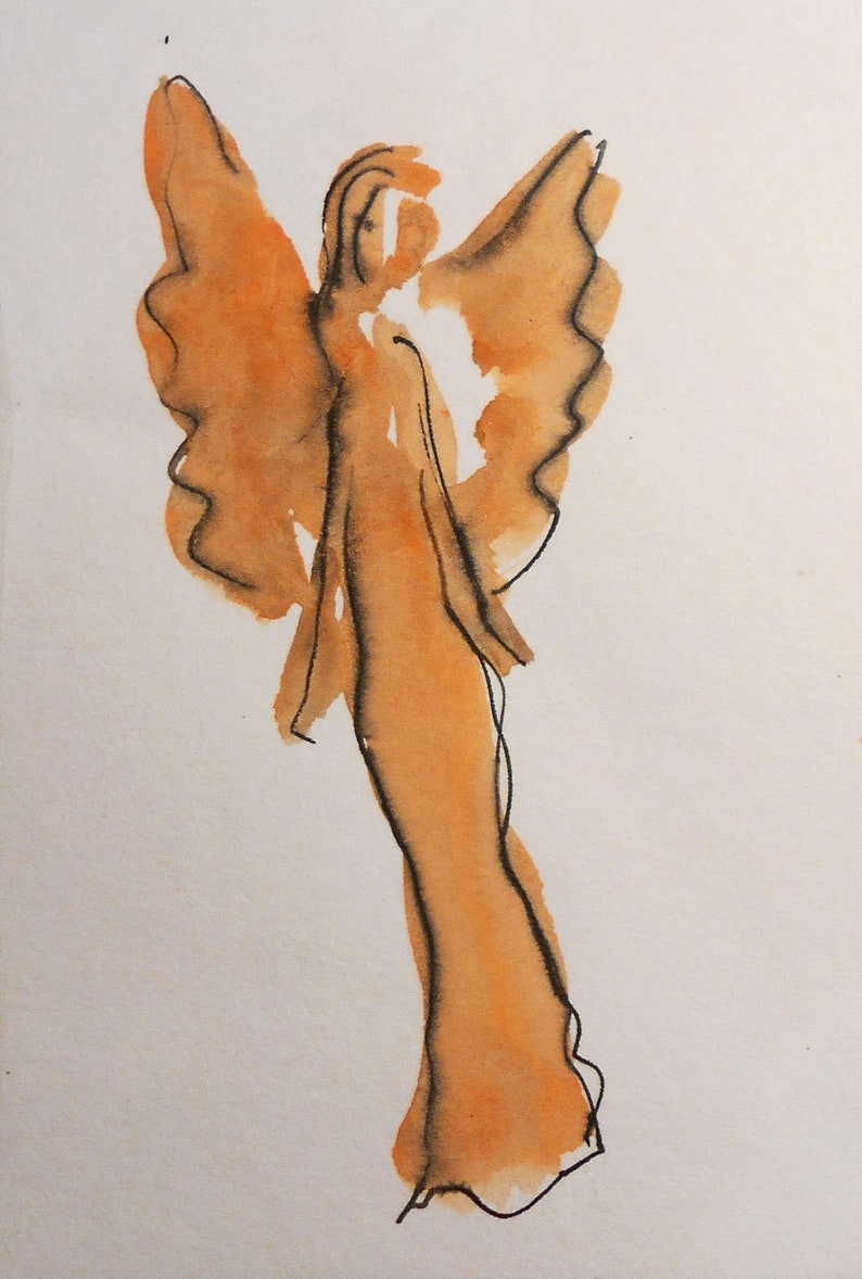 Birthday gift Spiritual art Mini Angel Painting on paper Girlfriend Gift Original Watercolor and ink pen Guardian Angel Angel Art