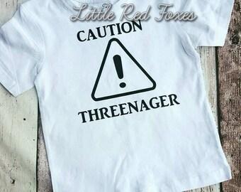 Caution Threenager. 3 year old. teeshirt. Toddler shirt. Birthday Shirt