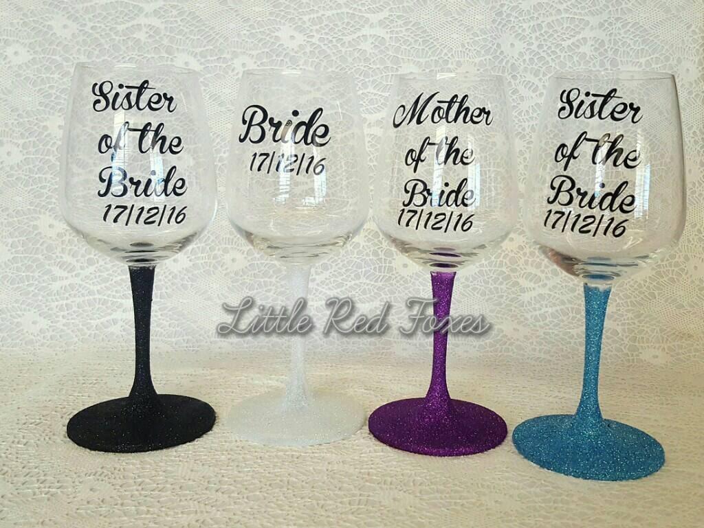 Bulk Set Of 7 Glittered Wine Glasses Wedding Wine Glasses Etsy