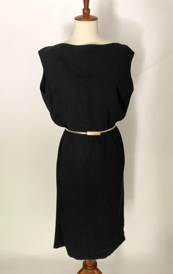 Vintage 1950s Larry Aldrich Black Swing Dress