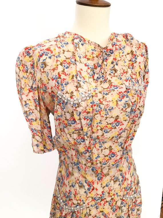 Vintage 1930's Chiffon Floral Beaded Day Dress