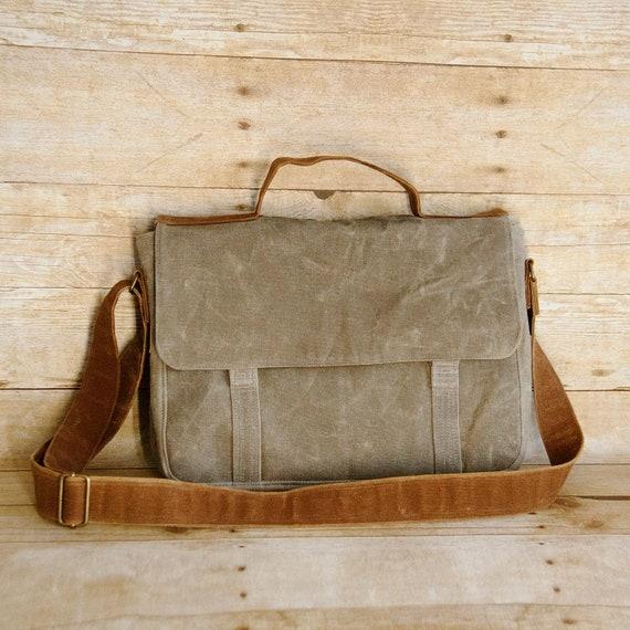 Crossbody waxed canvas messenger bag men vegan leather   Etsy 8ccf02a50b