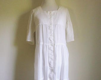 Vintage Sheer Sundress 90s Sheer White Dress Hippie Dress Tiered Dress Flutter Sleeves White Sheer Dress Minimalist Style Nineties Hippie