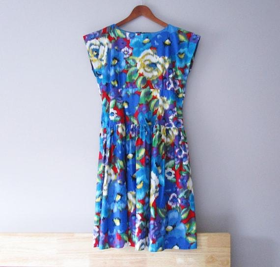 Vintage 80s Sundress Blue Floral Dress Cotton Bold