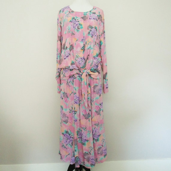 Vintage Floral Dress Long Drop Waist 80s Dress Pin