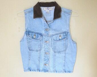 15d2340b01 Best World Brand Vintage Small Denim Vest with Brown Corduroy Collar