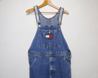 87ffe0e2 Men's 1990's Spellout Tommy Hilfiger Short Bib Embroidered Cotton Vintage  Overalls