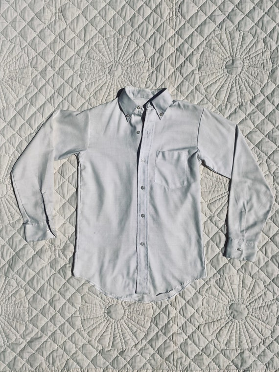 Antique 1920s Classic White Long Sleeved Button Do
