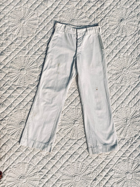 1940's Dayton High Rise Button Fly Wide Leg White