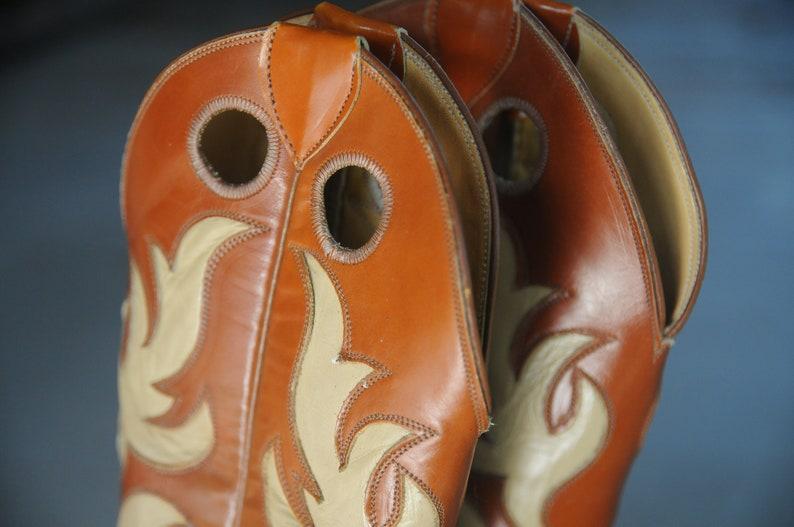 Buckaroo Orange Ivory Vintage Justin Tall Cuban Heel Ladies Western Cowgirl Boots L 4109