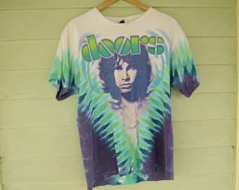 Vintage Jim Morrison The Doors Tie Dye T-Shirt Liquid Blue Lizard King