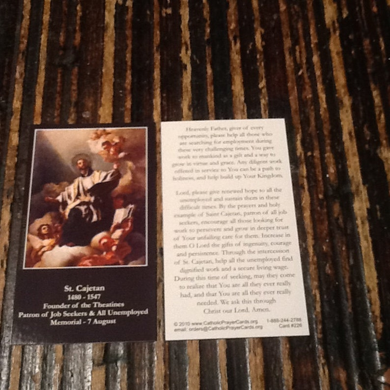 Prayer Card Of st  Cajetan Founder Of The Theatine Patron Of Job Seekers &  All Unemployed 1480-1547