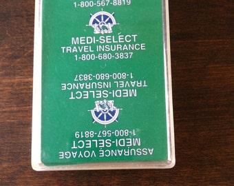 Cartes à jouer Vintage - publicité Médi-Sélect voyage assurance