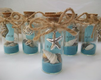beach message in bottle favor shell starfish charms beach theme wedding bridal shower special event favor set of 6 or specific quantity