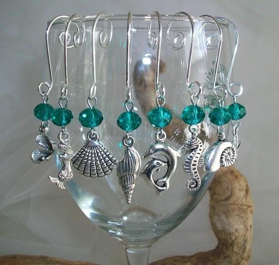 Wine O Clock Themed Wine Glass Charms Set of 6 Handmade Multi Colour