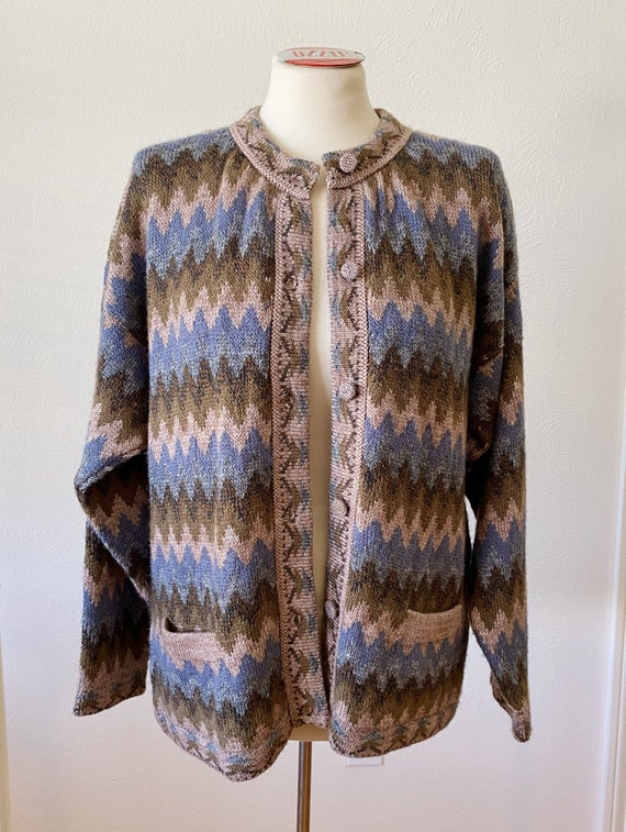 Vintage Oversized 80's Chevron Cardigan Sweater