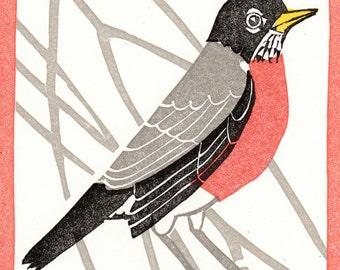 "American Robin 4"" X 5"" linocut card, six colors"