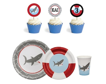 Shark Birthday Party Supplies- Shark Party Supplies- Shark Paper Plates- Shark Paper Cups  sc 1 st  Etsy & Lobster Bake Party Supplies Lobster Party Supplies Lobster