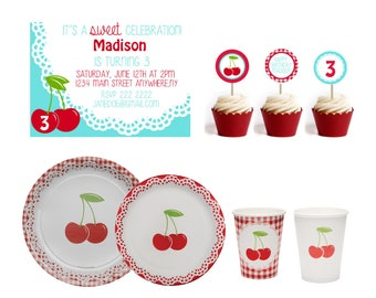 Cherries Party Supplies- Cherry Paper Plates- Cherry Paper Cups