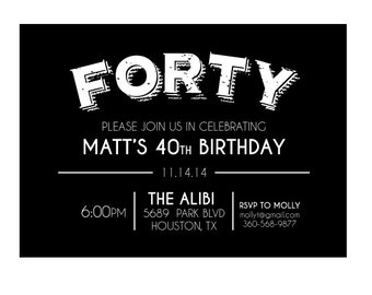 40th Birthday Invitation Forty Mans Black