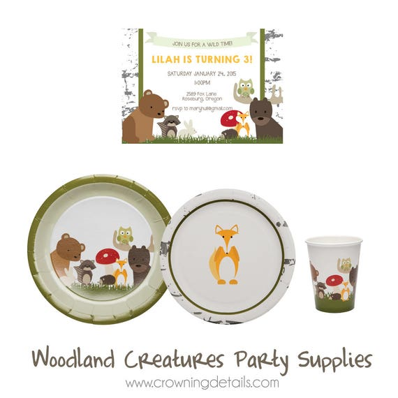 sc 1 st  Etsy & Woodland Animal Party Supplies Woodland Animal Paper Plates