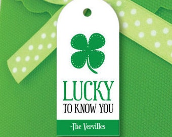 St Patricks Day Tag- Lucky to Know You Tags- St Patricks Day Favor Tags- St Patrick's Day Gift Tags