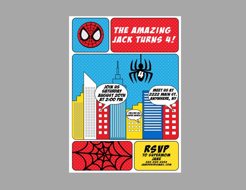 Spiderman Birthday Party Invitation Theme
