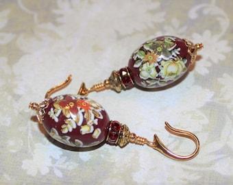 Ornate Bead Caps  JG312 Turquoise Green Czech Glass Violet Purple Teardrop Tensha Bead Earrings