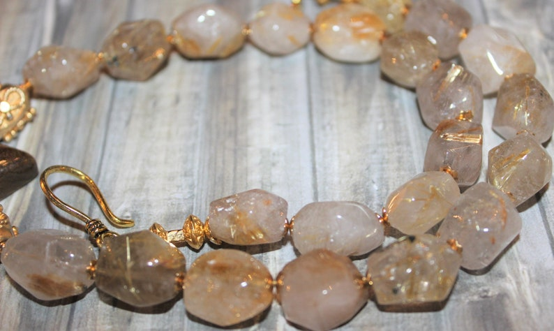 Exceptional Tiger/'s Eye Pendant Necklace with Gold Rutilated Quartz  Ornate 24k Vermeil Gold Beads  J171