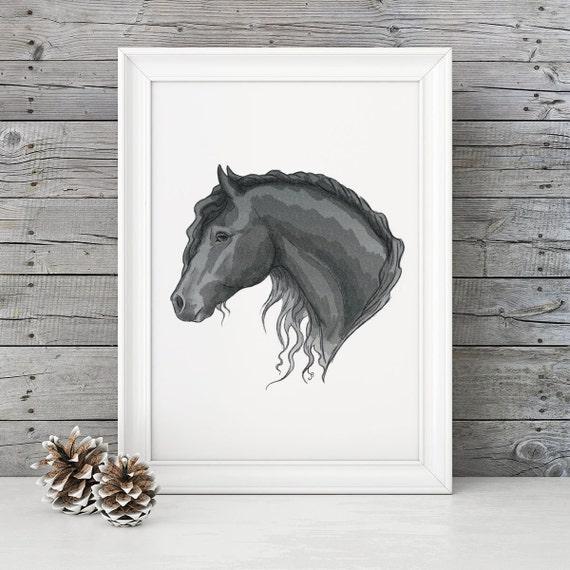 Imprimir caballo arte de caballo frisón blanco y negro | Etsy