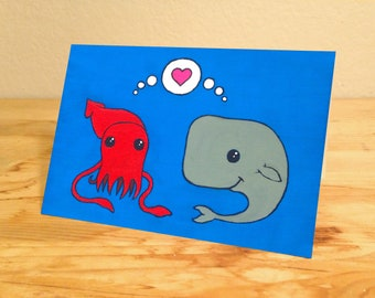 Squid and Whale - blank Valentine's greeting card