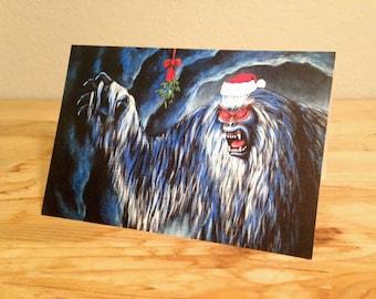 Yuletide Yeti - blank Christmas greeting card
