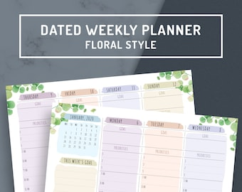 Dated Weekly Planner 2020, Weekly Hourly Planner Printable Template, Weekly Schedule Template, A4, A5, Letter, Half Letter, Filofax