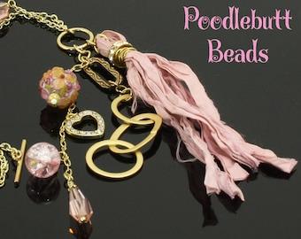 Pink Tassel Necklace Gold Sari Silk Tassel