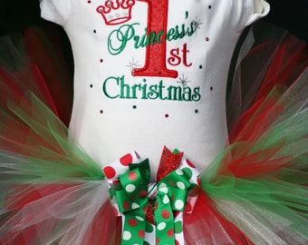 Princess's 1st Christmas Tutu outfit with Bling and Bows