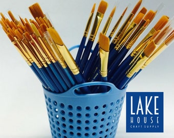 Open Stock Single Golden Taklon Brushes, Assorted Size and Tip Brushes Acrylics, Watercolors, Oils
