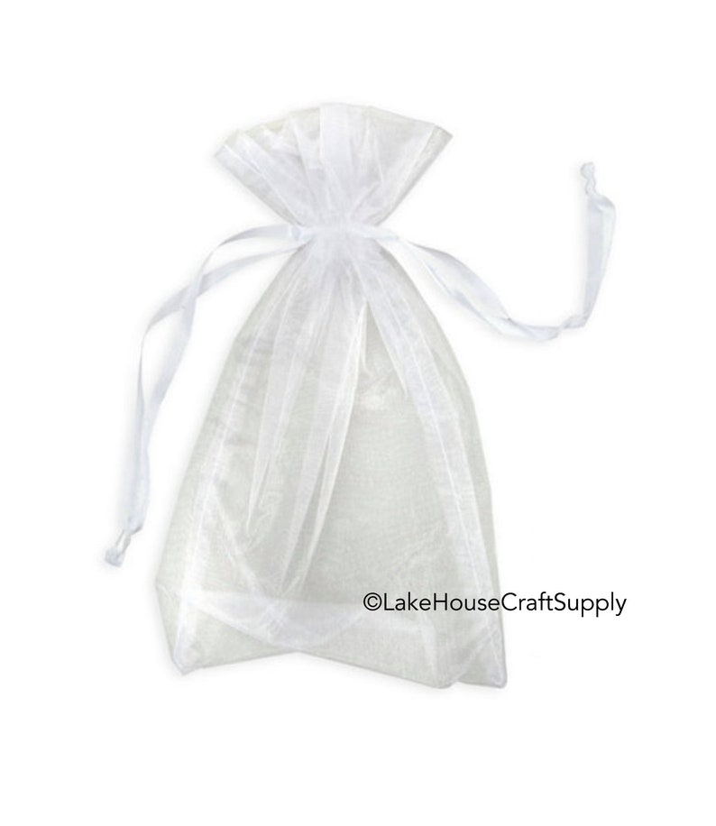 80856398ca72 Large White Organza Drawstring Bags 12 count. 10