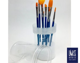 SALE Paint Brush Canister with brushes. Brush Caddy Canister.