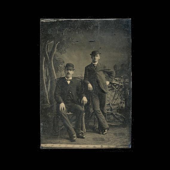 Victorian Tintype Photograph Two Gentlemen Gamblers / 1800s Photo