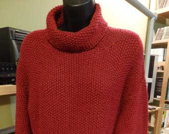 Hand Knit Red Cowl Neck Sweeter