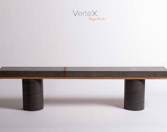 Concrete Black bench Narrow 76