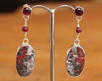 Gemstone drop earrings, garnet drop earring, ruby earrings, crazy lace agate earrings, red gemstone drop earrings, multi stone earrings